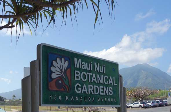 Maui Nui Botanical Gardens sign