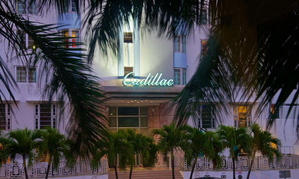 Miami Cadillac Hotel neon sign