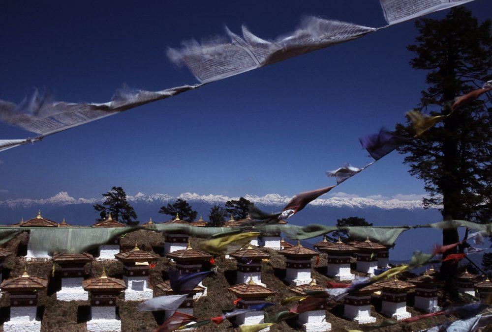 Bhutan flags 180 stupas modalina
