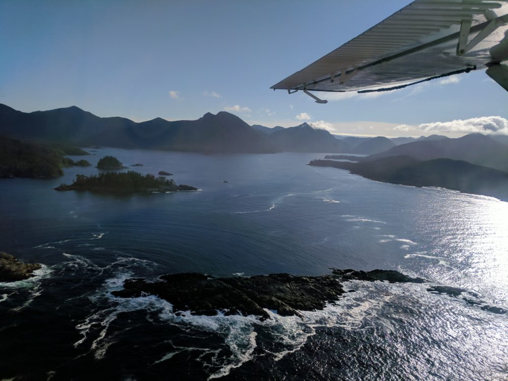 Seaplane flight to SGang Gwaay Haida Gwaii