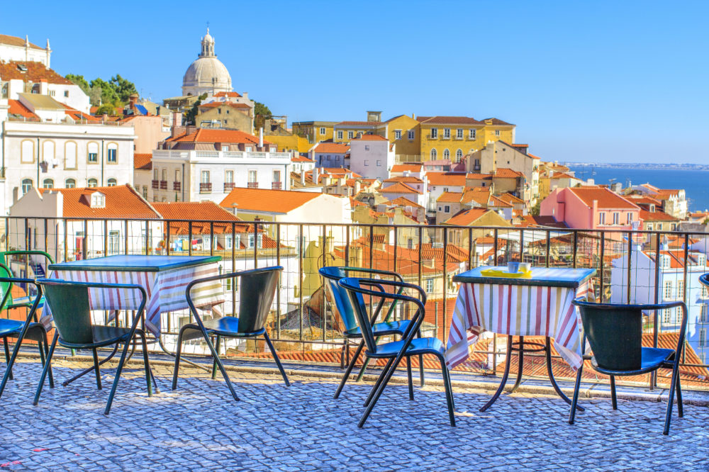 Terrace with view of Alfama in Lisbon Portugal