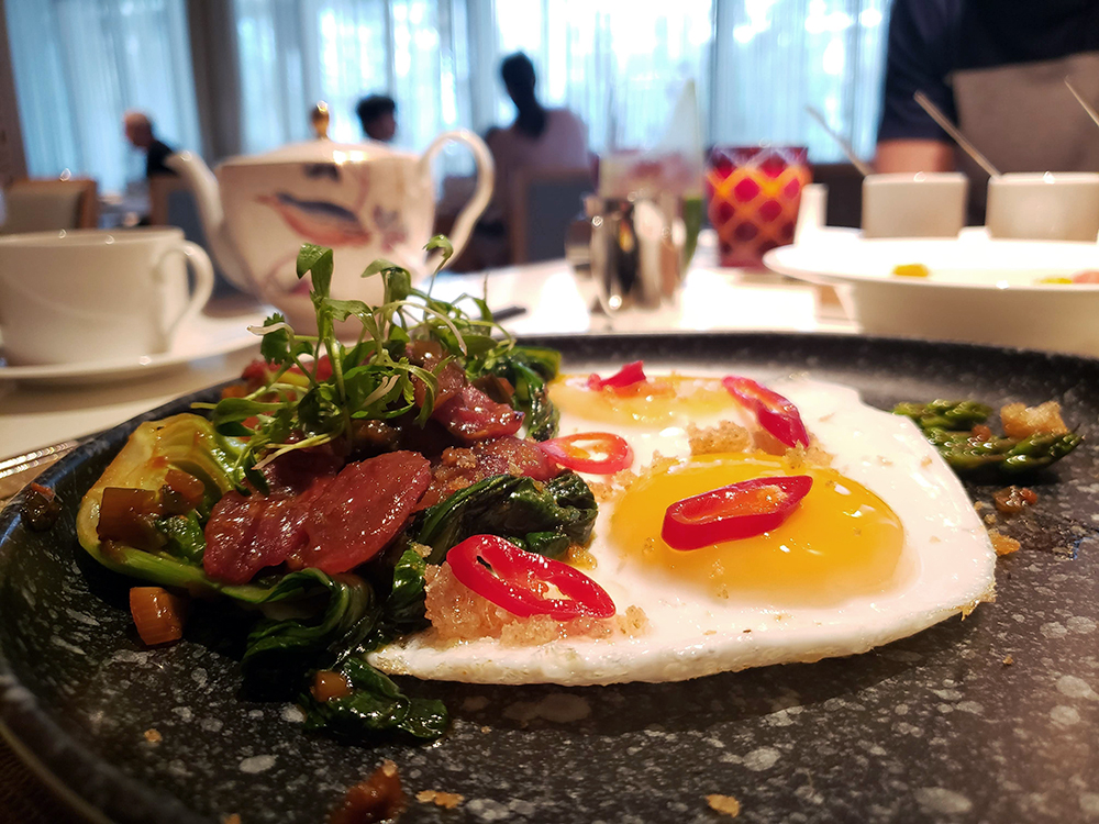 Breakfast at Bosk: duck eggs with Chinese sausage and bok choy