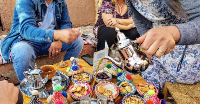 Enjoying mint tea in Ait Ben Haddou