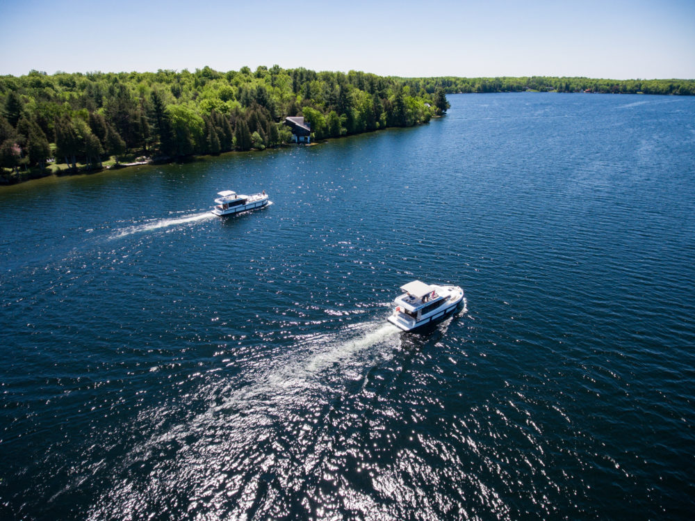 Two Le Boat Horizon houseboats on Big Rideau Lake in Ontario, Canada