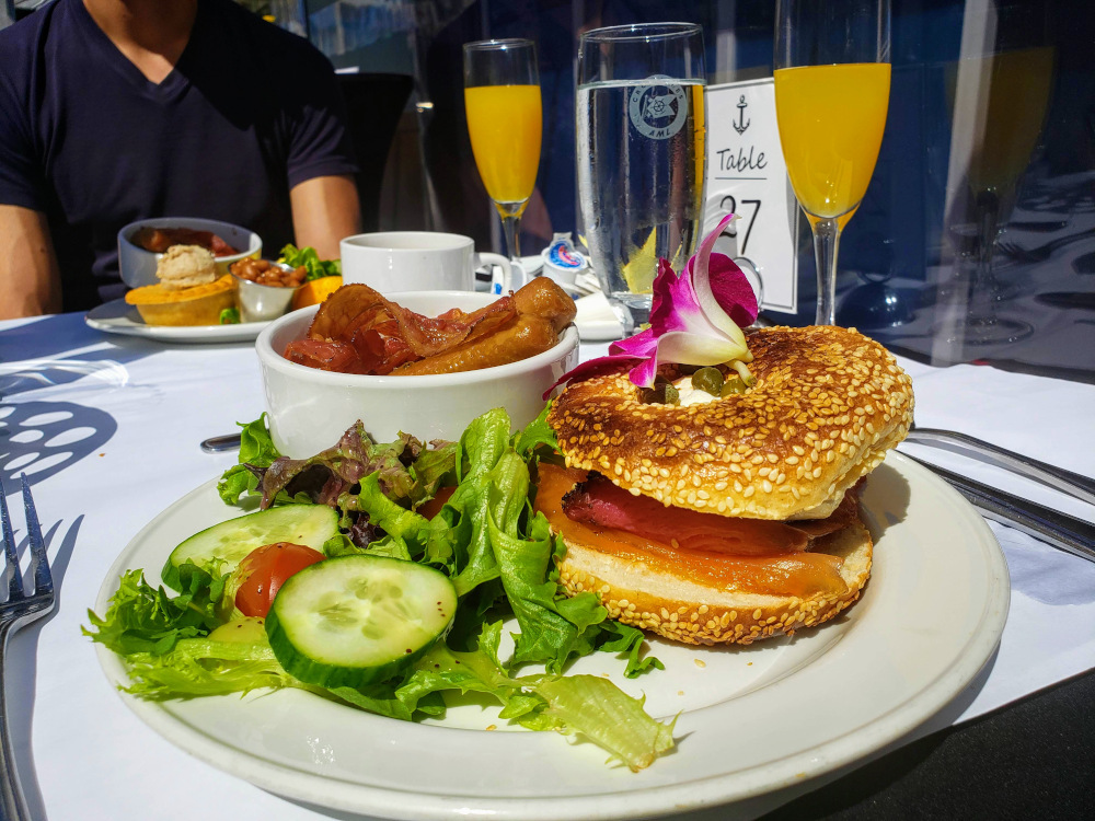 AML brunch cruise smoked salmon bagel and mimosas