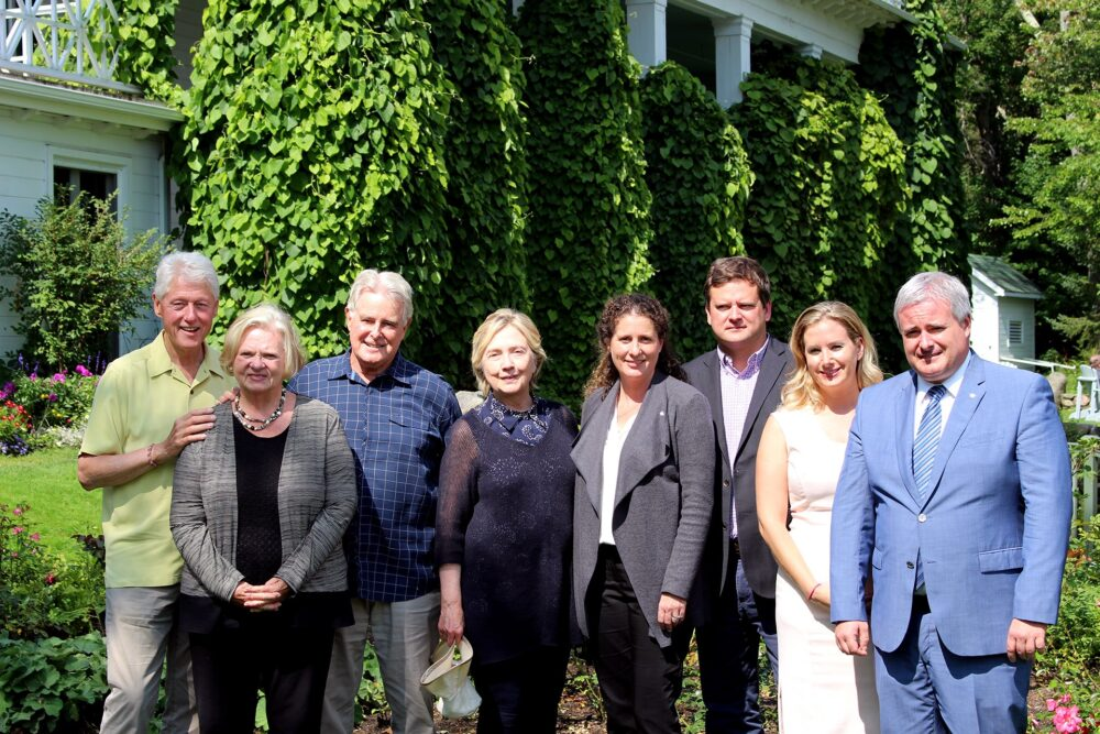 The Clintons at Manoir Hovey in August 2017.