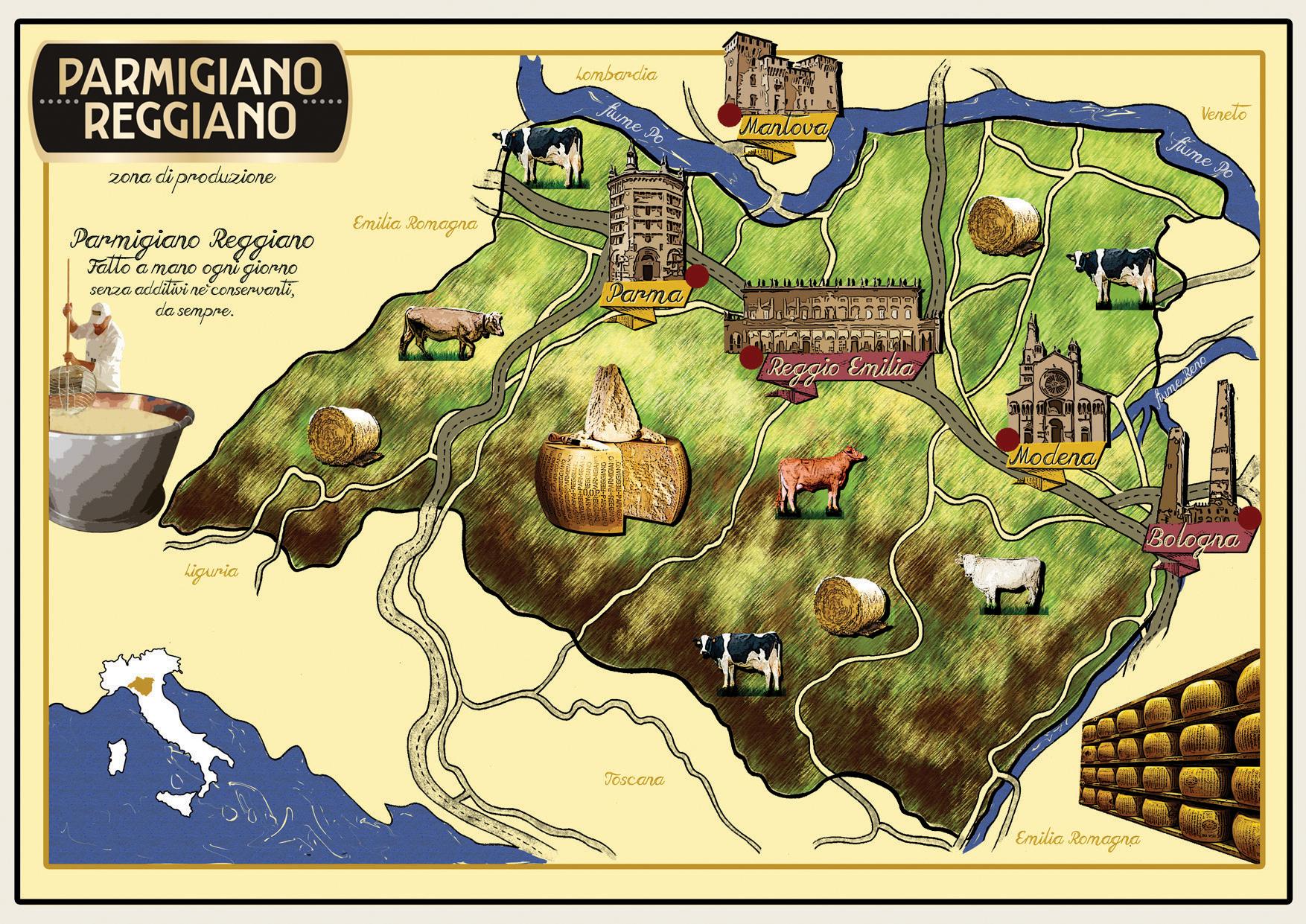 Map of Parmigiano Reggiano regions